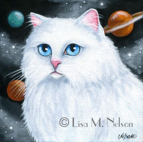 White Persian Cat Solar System Planets Acrylic Painting