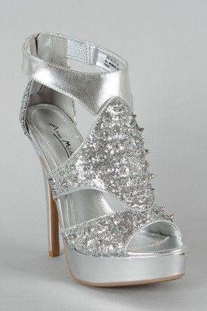 Teens Sandals sparkly | Zilveren glitter hoge hakken met spikes, klassieke high heels shop je ...