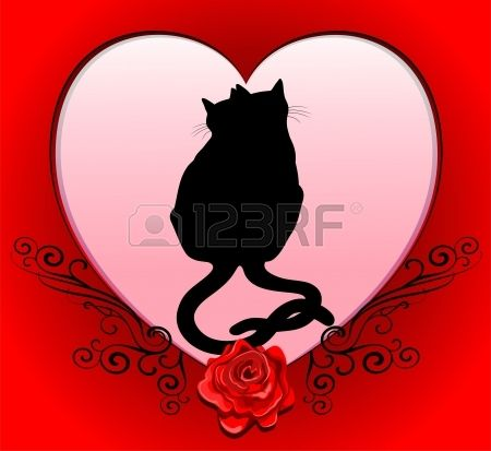 Cats in Love Heart Frame Valentine Card