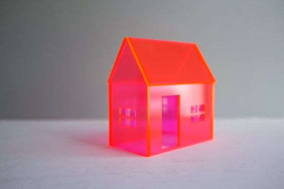 Vibrant neon pink and orange structure - miniature acrylic house - small architecture via Etsy