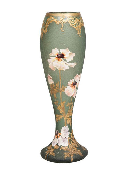 Jugendstil-Glasvase mit Mohnblüten