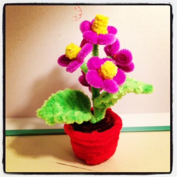 Pipe cleaner flower in a pot