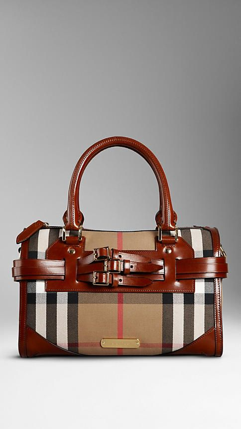 Medium Bridle House Check Belted Bowling Bag   Burberry