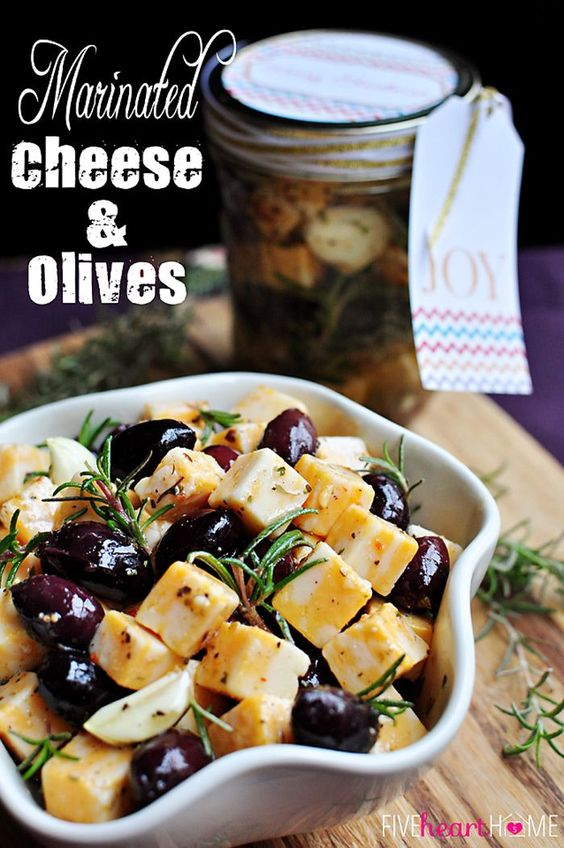 Marinated Cheese and Olives ~ a quick party appetizer or easy food gift in a jar   {Five Heart Home}