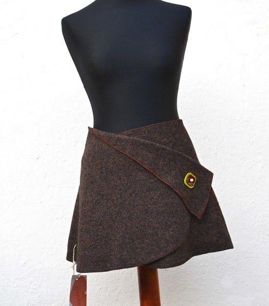 Cacheur Wickelrock Walkwolle Rock braun skirt - KalyanaMitra - Wrap Skirts