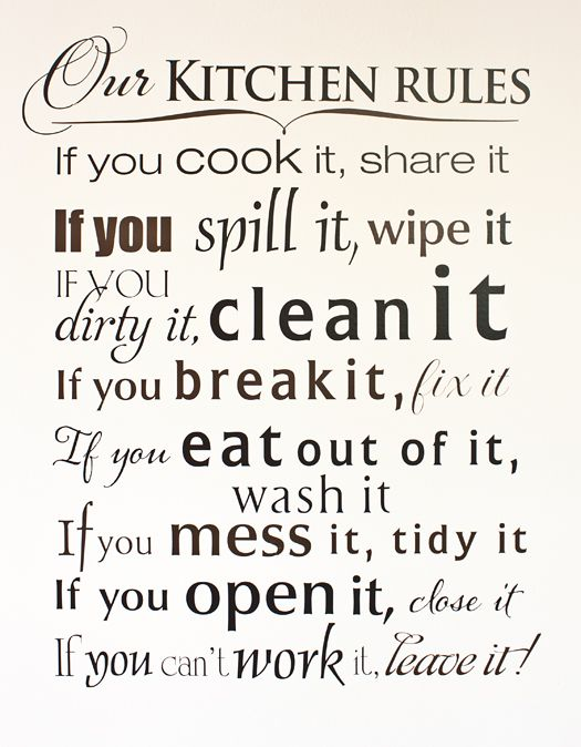 Giveaway: Wise Decor Wall Decal | Kitchen rules, Kitchens ...