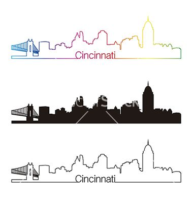 Cincinnati skyline linear style with rainbow vector 1995171 - by paulrommer on VectorStock®