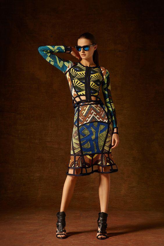 Hervé Léger by Max Azria Pre-Fall 2015 - Secilia Tribal Jacquard Cutout Jacket and Maylin Tribal Jacquard Cutout Peplum Skirt
