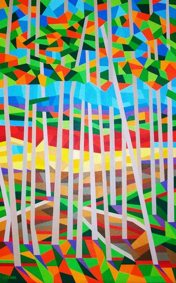 """""""Aspen Grove""""; Acrylic on canvas; 30"""" w x 48"""" h x 2"""" d; Abstract Landscape; Ready to hang. This is a stunningly beautiful acrylic painting of the dazzling colors of fall illuminating a shimmering aspen grove. The painted image is continued on the 2"""" deep sides. My paintings are made using only the highest quality luxury paints and applied on the finest museum quality surfaces. All of my artworks are created to bring you pleasure for generations to come."""
