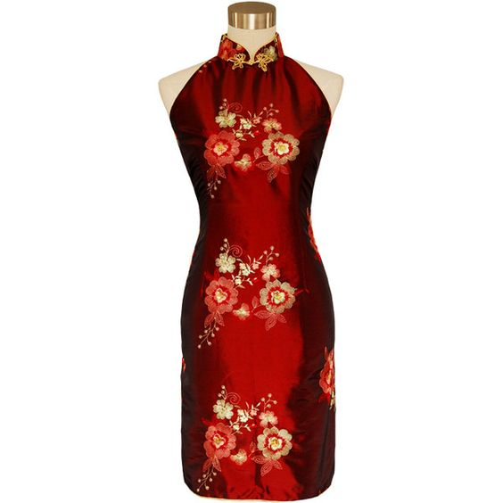Short Red Chinese Dress (265 CAD) ❤ liked on Polyvore featuring dresses, red, red day dress, red dress, short red dress, short dresses and short length dresses