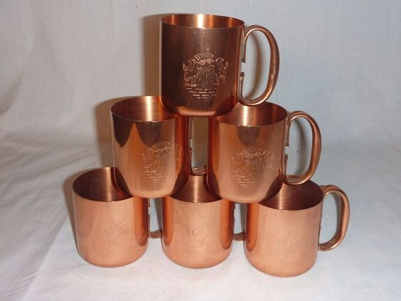 Set of 6 Vintage Double Kicking Moscow Mule Solid Copper ...