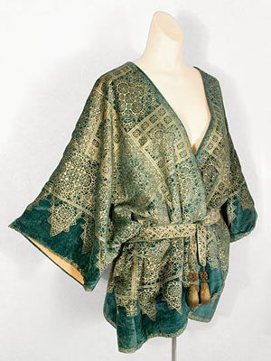 "Fortuny short velvet jacket stenciled with the lace pattern, 1920s. Circular sewn-in label: ""Mariano Fortuny/Venise."""