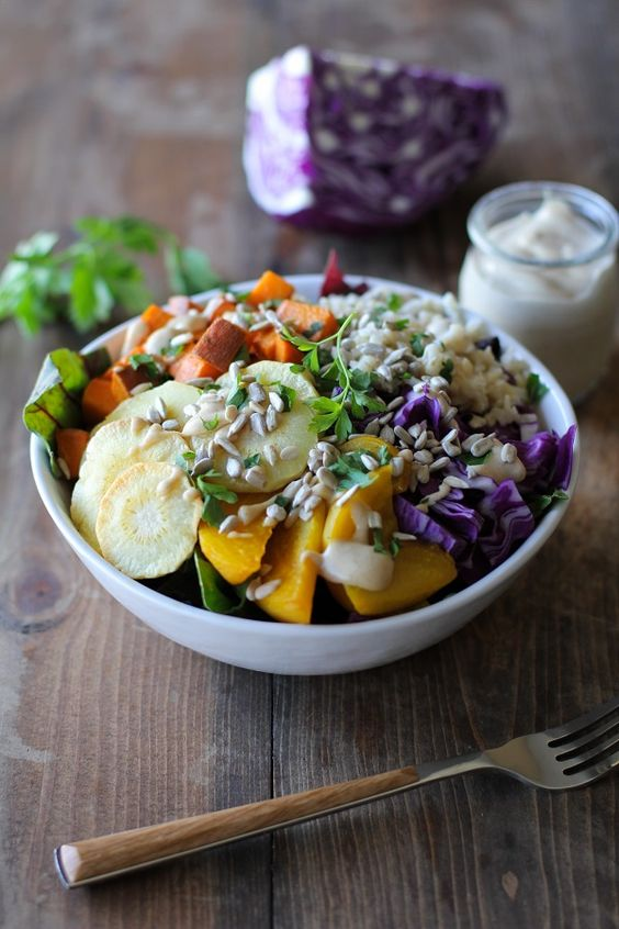 Roasted Root Vegetable Buddha Bowls with Maple Cinnamon Tahini ...