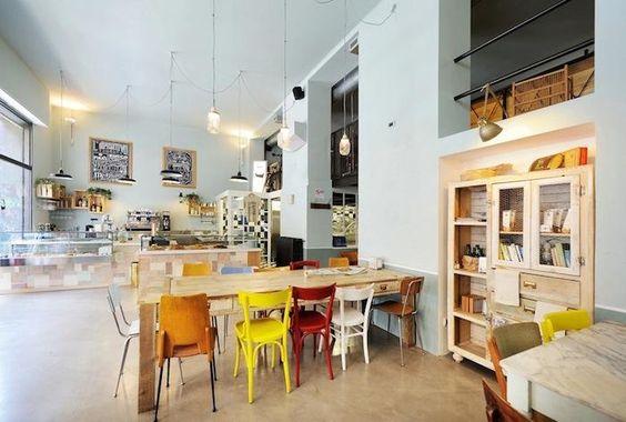 Detalles del Café en Milán, la costillas de la baldosa como diseño.