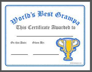World S Best Grandpa Award Certificate Printable Family