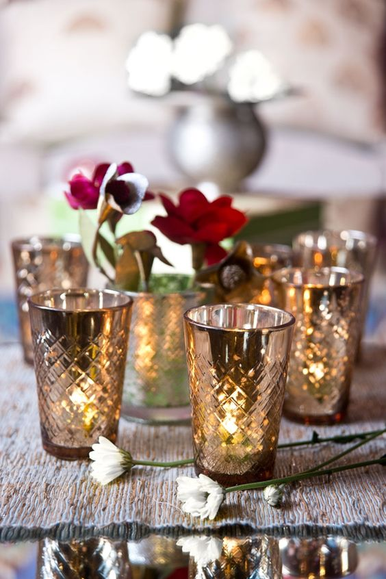 votives in mercury glass