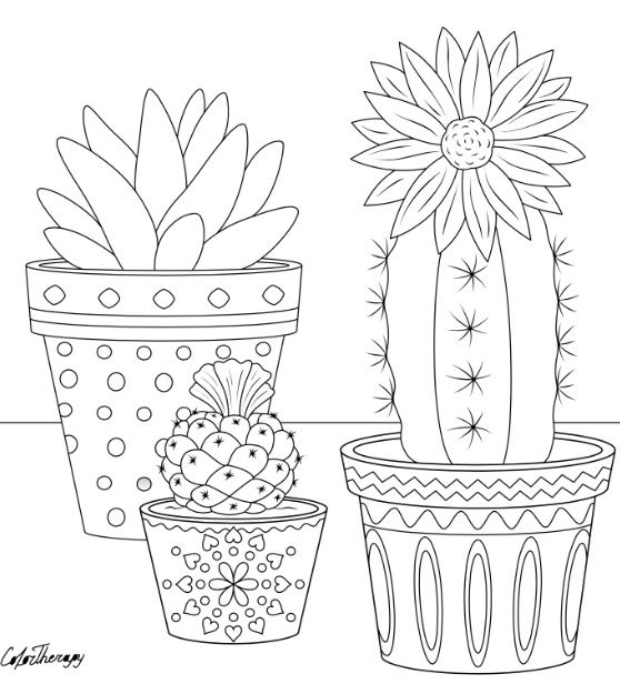 Cactus To Color With Color Therapy Try This App For Free Get Colortherapy Me Pattern Coloring Pages Cactus Embroidery Coloring Pages