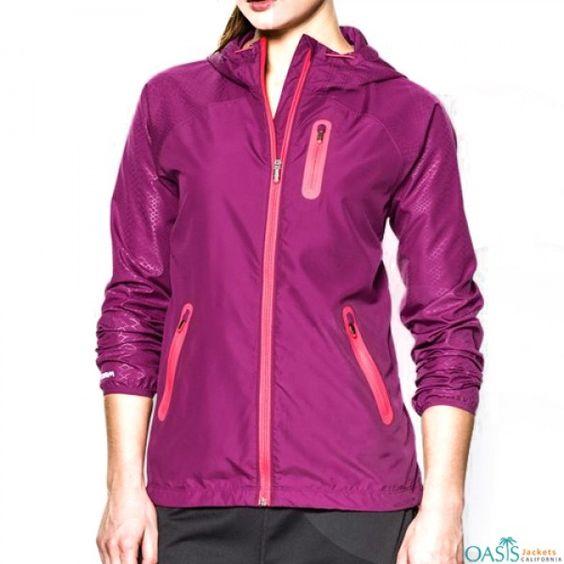 Dark Pink Ladies Windbreaker Overcoat | wholesale windbreaker