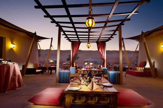 Sure, we can have dinner outside tonight, Habibi. Desert Nights Camp,  a luxury hotel in Oman,  Al Wasil, Wahiba Sands, which consists of Bedouin style tents, with the comfort of a 5 star hotel, 2 hours outside of Muscat.