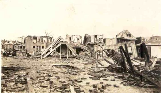 1927 Tornado St Louis MO.  Rubble at north side of Cook, east of Sarah Street.