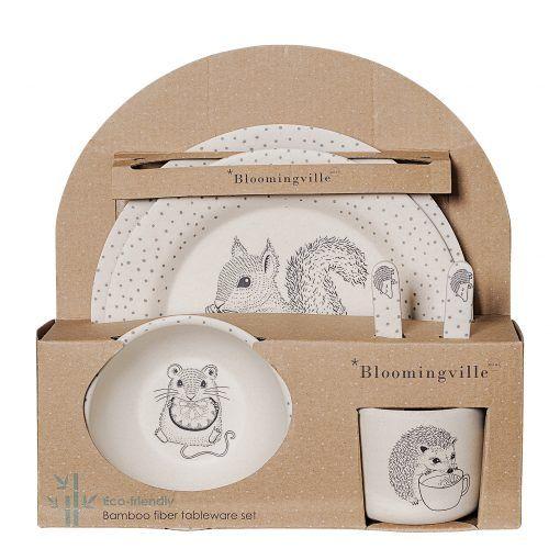 faites de bambou Fille 5/pi/èces Set vaisselle pour enfants avec dessins