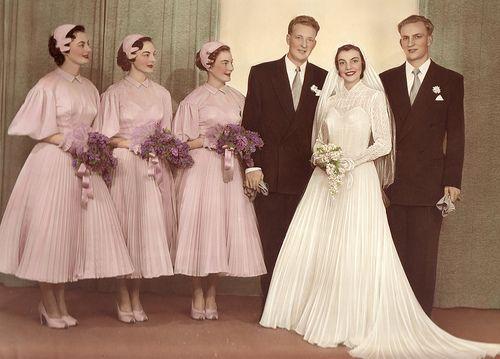 Colorized wedding photo, 1950s: