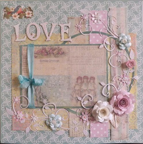 "shabby chic Love, 12"" x 12"" page layout"