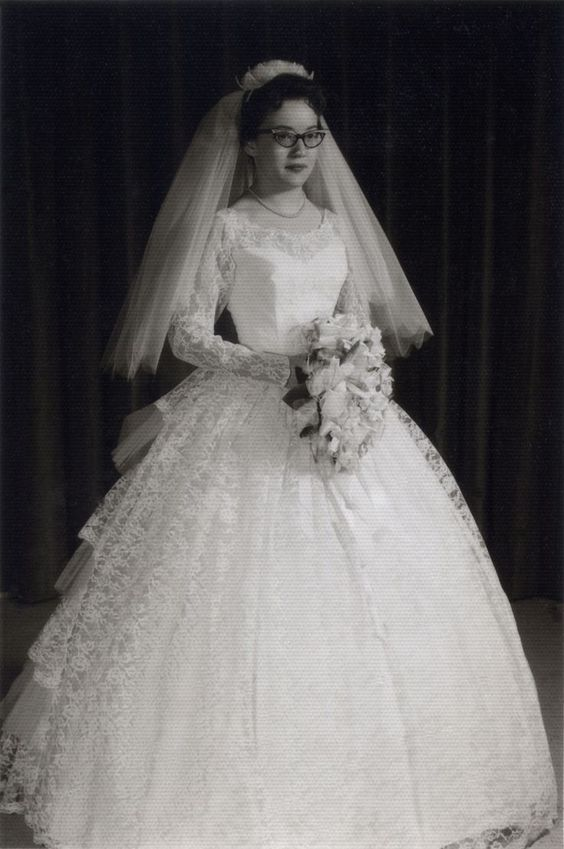 A beautiful elaborate princess gown. | 60 Adorable Real Vintage Wedding Photos From The 60s