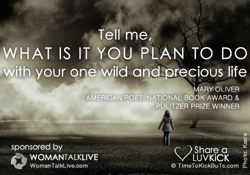 Tell me, what is it you plan to do with your one wild and precious life.Share a ♥ LUV KiCK via @AnnQ and http://TimeToKickBuTs.com