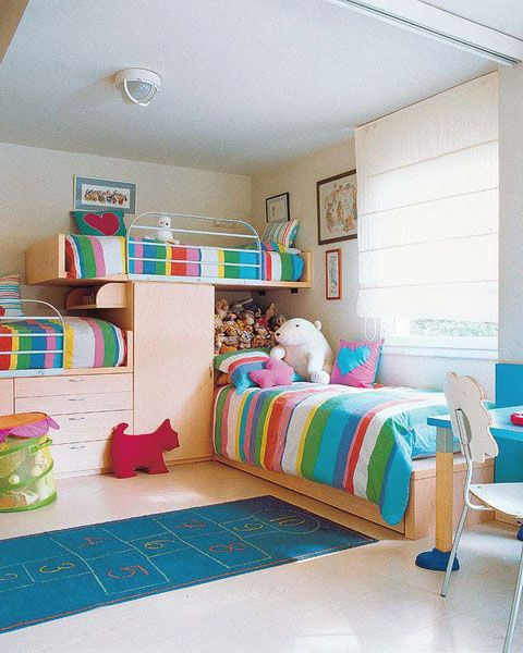 Ideas, Colorful Rainbow Stripe Bed Linen Bunk Beds For Three Childs: Interesting Colorful and Fun Room Ideas for Three Childrens