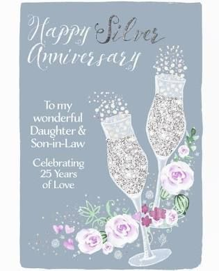 Daughter Son In Law Happy Silver Anniversary Champagne Card