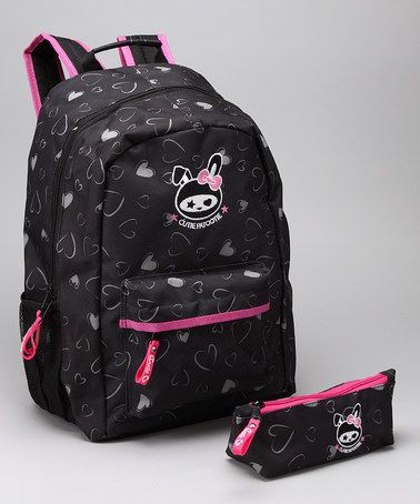 Another great find on #zulily! Black Heart Backpack & Pencil Case #zulilyfinds