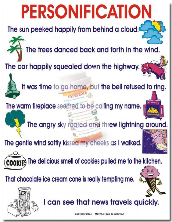 personification examples provided for students when they write  personification examples provided for students when they write this could be a good handout in a journal poser or reminder for students to use l