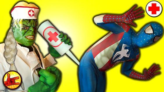 SPIDERMAN vs Doctor Hulk with frozen Elsa hair playing a Nurse! Superher...