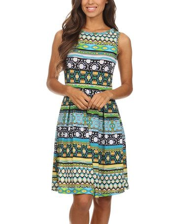 Another great find on #zulily! Blue & Green Geometric-Stripe Fit & Flare Dress #zulilyfinds