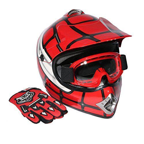 Xfmt Youth Kids Motocross Offroad Street Dirt Bike Helmet Goggles Gloves Atv Mx Helmet Red Spider L Helm
