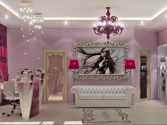 interior design beauty salon burgundy couch