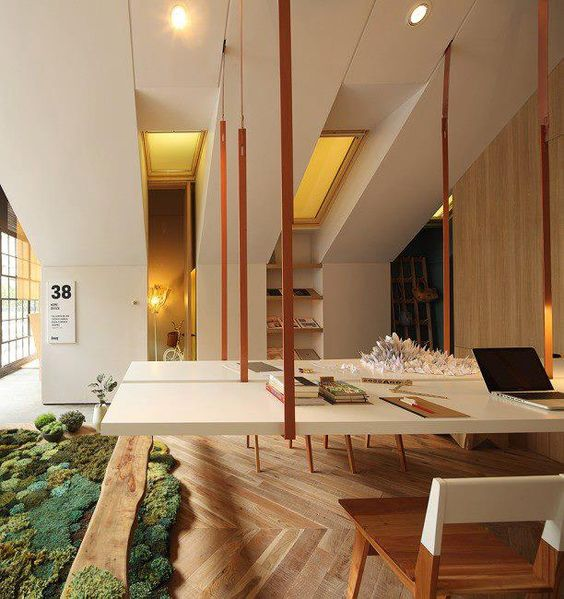 Office with Mossy 'Rug' and Suspended table