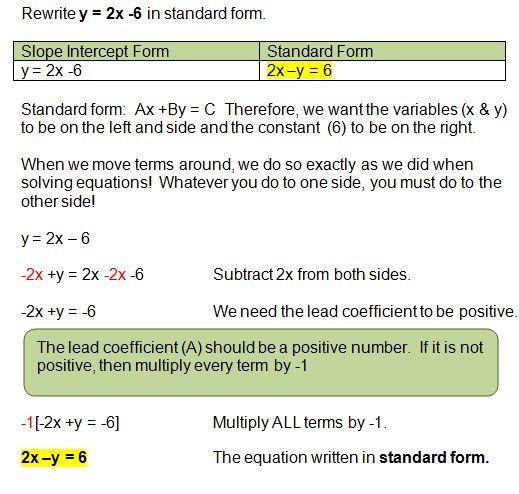 Algebra 1 Standard Form Fashionellaconstance