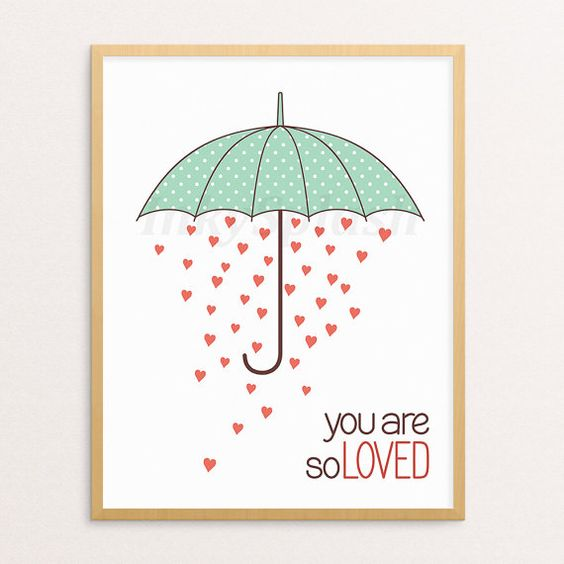 "Wall art print with rain of hearts under dotted umbrella and ""You are so loved"" quote by InkySplashShop. You are so loved print. Nursery printable wall art. Umbrella art. Valentines Day, Baby shower gift. Inspirational quote. Children room decor"