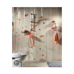 Spirella Goldfish Douchegordijn Vinyl - 180x200 cm - Oranje