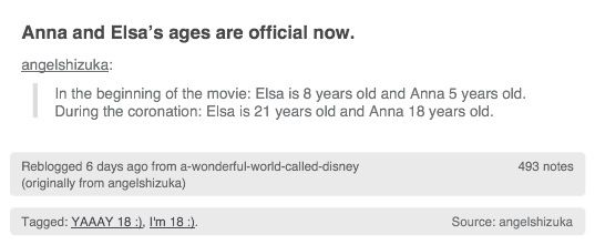 Anna and Elsa's ages are official now!