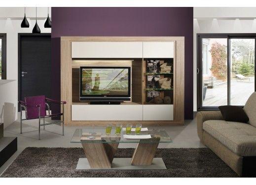 Meuble TV chêne clair et blanc laqué 240 cm avec éclairage