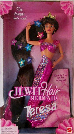 Amazon.com: 1995 Jewel Hair Mermaid Teresa Barbie Doll in Pink with the longest hair ever: Toys & Games