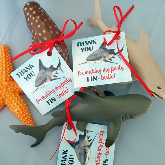 """Shark Birthday Party Favor Tags """"Thank You for making my party FIN-tastic!"""" 