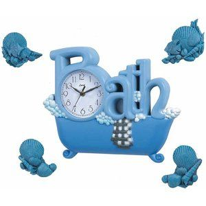 Control Brand Bath Wall Clock in Blue with Four D cor