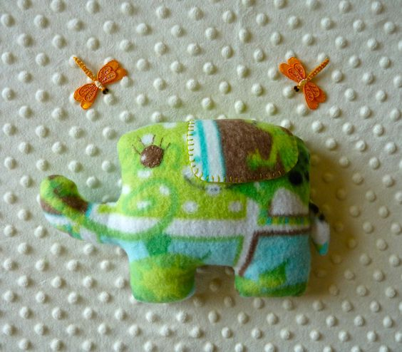 This cute double sided Eddie the elephant was made with fleece fabrics and lots of love!