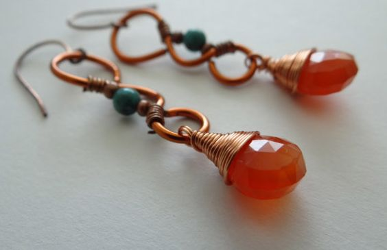 Wire wrapped turquoise earrings african by HummingBirdEggs on Etsy