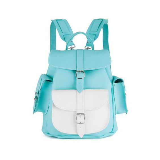 Grafea Exclusive Oceana Medium Leather Rucksack (€210) ❤ liked on Polyvore featuring bags, backpacks, leather drawstring backpack, leather daypack, blue backpack, leather rucksack and leather flap backpack