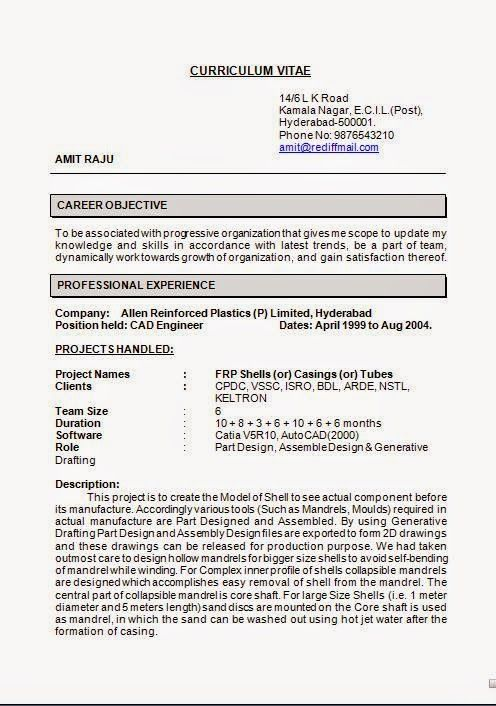 it cv format Sample Template Example ofExcellent CV \/ Resume - cad engineer sample resume